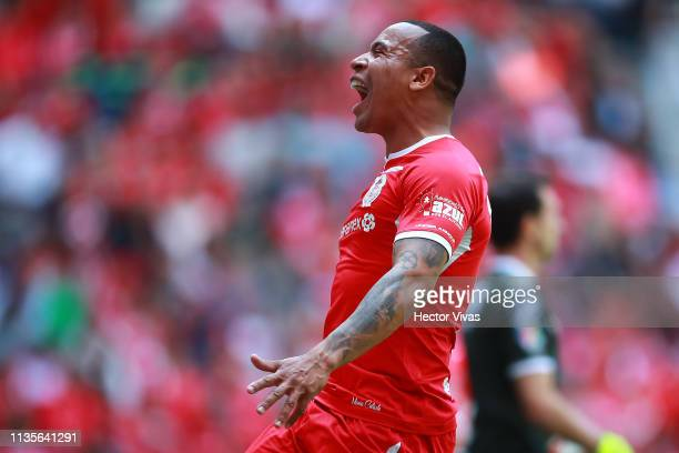 Edgar Pardo of Toluca reacts during the 13th round match between Toluca and Monterrey as part of the Torneo Clausura 2019 Liga MX at Nemesio Diez...