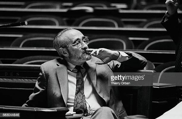 Edgar Pisani minister to the territory of New Caledonia listens during a 1985 senate debate on the future of the French colony In 1984 an...