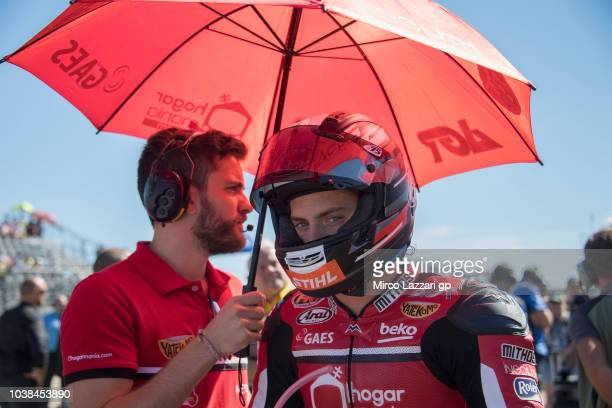 Edgar Pons of Spain and AGR Team prepares to start on the grid during the Moto2 race during the MotoGP of Aragon Race at Motorland Aragon Circuit on...