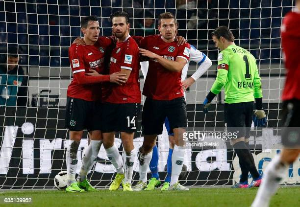 Edgar Prib Martin Harnik and Artur Sobiech of Hannover celebration the Goal 11 during the Second Bundesliga match between Hannover 96 and VfL Bochum...