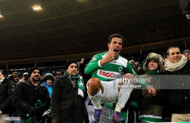Edgar Prib of Fuerth celebrates after winning the DFB Cup Quarter Final match between TSG 1899 Hoffenheim and SpVgg Greuther Fuerth at...