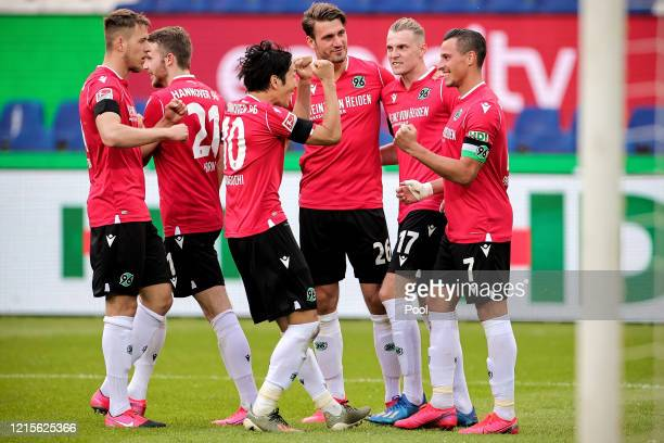 Edgar Prib of Hannover 96 celebrates scoring his side's first goal with team mates during the Second Bundesliga match between Hannover 96 and...