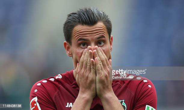 Edgar Prib of Hannover 96 is disappointed after the Bundesliga match between Hannover 96 and Sport-Club Freiburg at HDI-Arena on May 11, 2019 in...