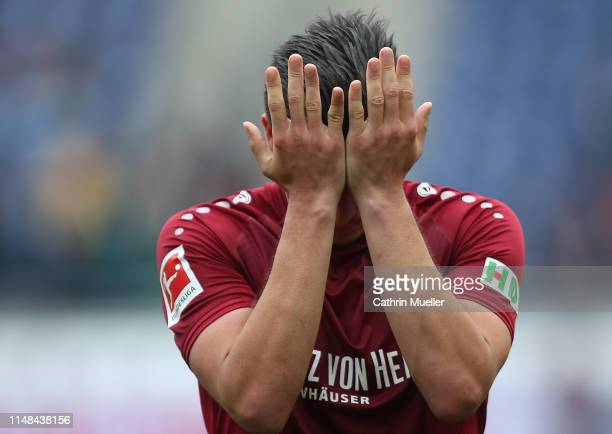 Edgar Prib of Hannover 96 is disappointed after the Bundesliga match between Hannover 96 and SportClub Freiburg at HDIArena on May 11 2019 in Hanover...