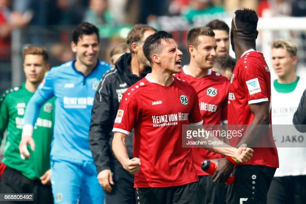 Edgar Prib of Hannover celebrate after the Second Bundesliga match between Hannover 96 and Eintracht Braunschweig at HDIArena on April 15 2017 in...