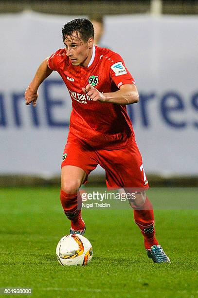 Edgar Prib of Hannover controls the ball during a test game against VfB Stuttgart during Hannover 96 training camp on January 13 2016 in Belek Turkey