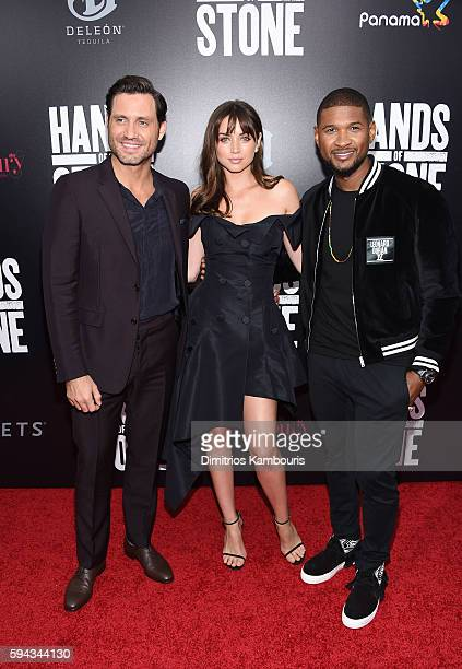Edgar Ramirez Ana de Armasand and Usher attend the 'Hands Of Stone' US premiere at SVA Theater on August 22 2016 in New York City