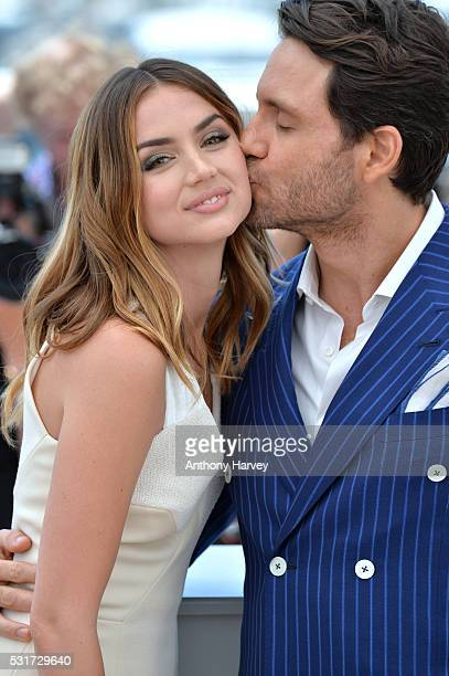 Edgar Ramirez and Ana de Armas attend the 'Hands Of Stone' Photocall at the annual 69th Cannes Film Festival at Palais des Festivals on May 16, 2016...