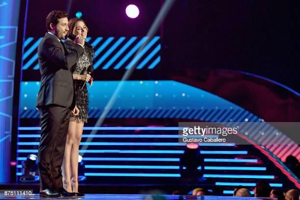 Edgar Ramirez and Ana de Armas speak onstage during The 18th Annual Latin Grammy Awards at MGM Grand Garden Arena on November 16 2017 in Las Vegas...