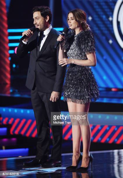 Edgar Ramirez and Ana de Armas speak onstage during the 18th Annual Latin Grammy Awards held at MGM Grand Garden Arena on November 16 2017 in Las...