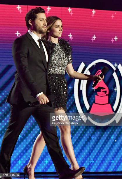 Edgar Ramirez and Ana de Armas walk onstage during The 18th Annual Latin Grammy Awards at MGM Grand Garden Arena on November 16 2017 in Las Vegas...