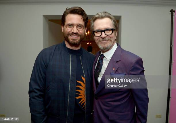 Edgar Ramirez and Gary Oldman wearing Paul Smith attend Paul Smith's intimate dinner with Gary Oldman at Chateau Marmont on April 10 2018 in Los...