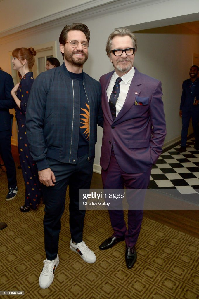 Edgar Ramirez (L) and Gary Oldman, wearing Paul Smith, attend Paul Smith's intimate dinner with Gary Oldman at Chateau Marmont on April 10, 2018 in Los Angeles, California.