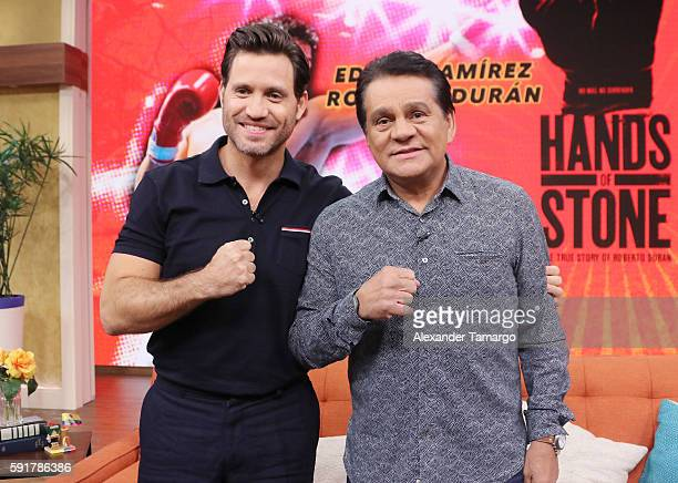 Edgar Ramirez and Roberto Duran are seen on the set of 'Despierta America' to promote the film 'Hands of Stone' at Univision Studios on August 18...