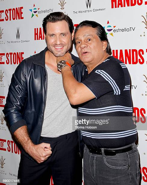 Edgar Ramirez and Roberto Duran attend the screening of 'Hands of Stone' at Pacific Theatres at The Grove on August 15 2016 in Los Angeles California