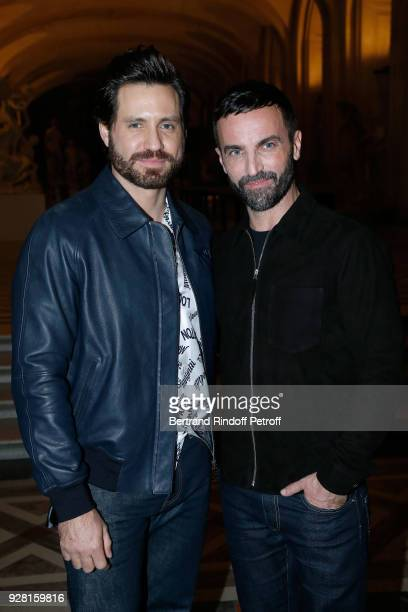 Edgar Ramirez and Stylist Nicolas Ghesquiere pose after the Louis Vuitton show as part of the Paris Fashion Week Womenswear Fall/Winter 2018/2019 on...