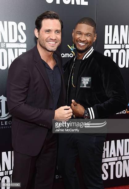 Edgar Ramirez and Usher attend the Hands Of Stone US premiere at SVA Theater on August 22 2016 in New York City