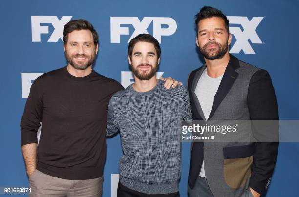 Edgar Ramirez Darren Criss and Ricky Martin attend the 2018 Winter TCA Tour at The Langham Huntington Pasadena on January 5 2018 in Pasadena...