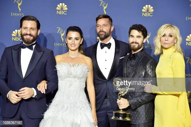 Edgar Ramirez, Penelope Cruz, Ricky Martin, Darren Criss and Judith Light attend the 70th Emmy Awards - Press Room at Microsoft Theater on September...