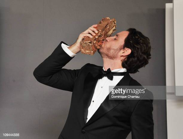 Edgar Ramirez poses with his Cesar after being awarded for Most Promising Actord uring the 36th Cesar Film Awards at Theatre du Chatelet on February...
