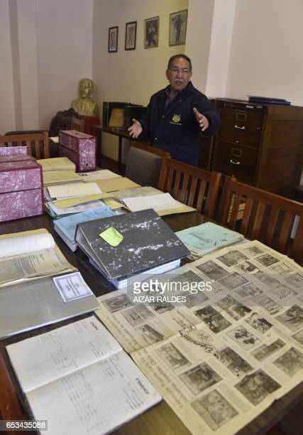 Edgar Ramirez the head of the archives in the Bolivian state mining company COMIBOL shows unearthed documents which reveal that JewishGerman tin...