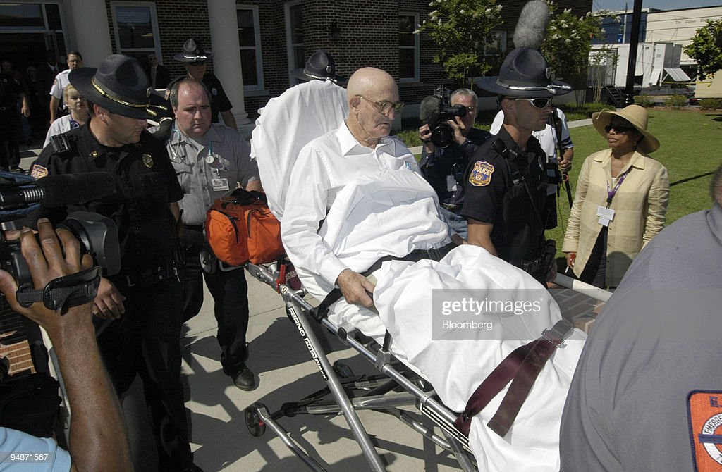 Edgar Ray Killen is taken out of the Neshoba County courthouse on a stretcher Thursday, June 17, 2005, in Philadelphia, Mississippi. It was the first day of testimony in his trial in connection with the 1964 deaths of three civil rights workers.