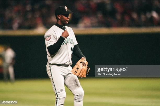 Edgar Renteria of the Florida Marlins during Game Five of the World Series against the Cleveland Indians at Jacobs Field on October 23 1997 in...