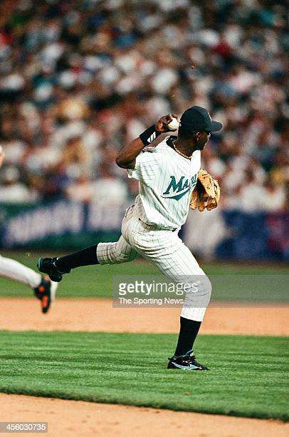 Edgar Renteria of the Florida Marlins during the All-Star Game on July 7, 1998 at Coors Field in Denver, Colorado.