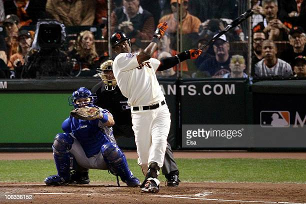 Edgar Renteria of the San Francisco Giants hits a fifth inning solo home run off of CJ Wilson of the Texas Rangers in Game Two of the 2010 MLB World...
