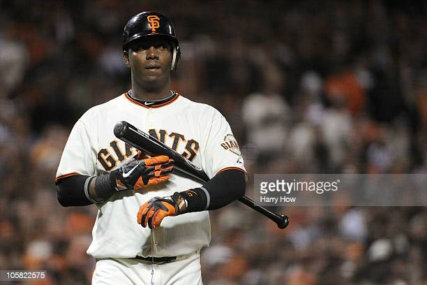 Edgar Renteria of the San Francisco Giants looks on during an atbat against the Philadelphia Phillies in Game Four of the NLCS during the 2010 MLB...