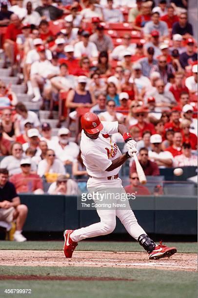 Edgar Renteria of the St Louis Cardinals bats against the Detroit Tigers on June 13 1999 at Busch Stadium in St Louis Missouri