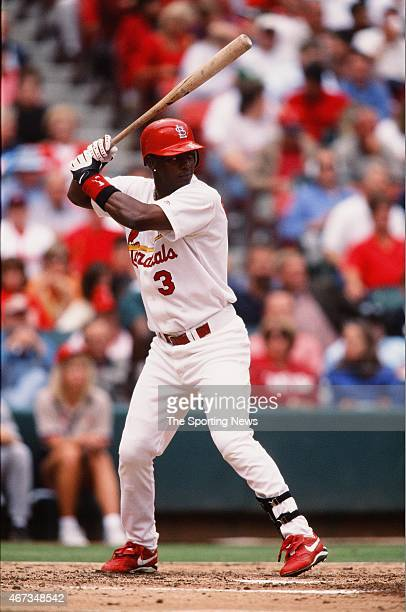 Edgar Renteria of the St Louis Cardinals bats against the Milwaukee Brewers on September 19 2001