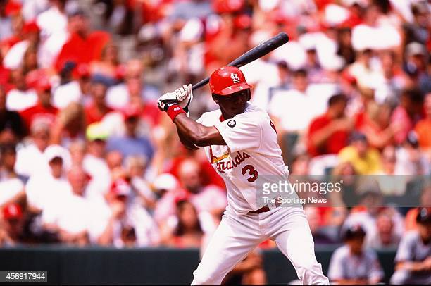 Edgar Renteria of the St Louis Cardinals bats against the San Francisco Giants at ATT Park on July 18 2002 in San Francisco California