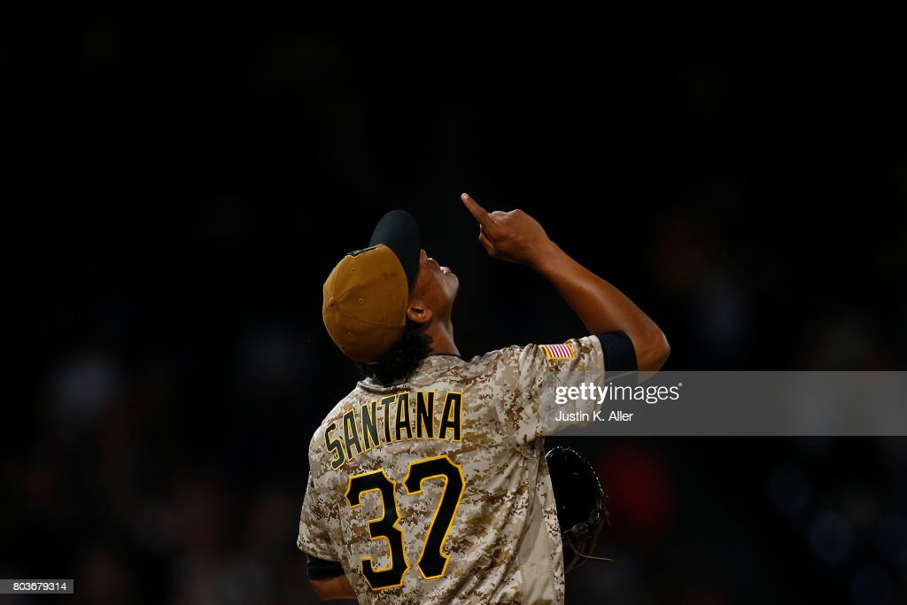 Edgar Santana #37 of the Pittsburgh Pirates reacts after defeating the Tampa Bay Rays 4-0 during inter-league play at PNC Park on June 29, 2017 in Pittsburgh, Pennsylvania.