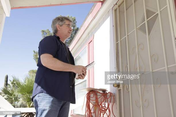 Edgar Schrock of MoveOn canvass for Ann Kirkpatrick on November 3 2018 in Tucson Arizona