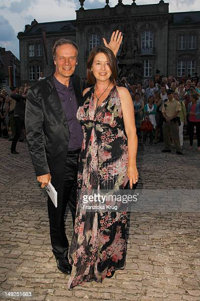 Edgar Selge and and his wife Franziska Walser arrive for the reception of the Bavarian state governor after the Bayreuth festival 2011 premiere on...