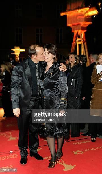 Edgar Selge and his wife Franziska Walser arrive at the 42nd Goldene Kamera Award at the UllsteinArena on February 1 2007 in Berlin Germany