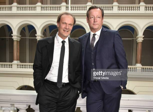 Edgar Selge and Matthias Brandt during the photo call to Michel Houellebecqs novel 'Unterwerfung' on October 23 2017 in Berlin Germany