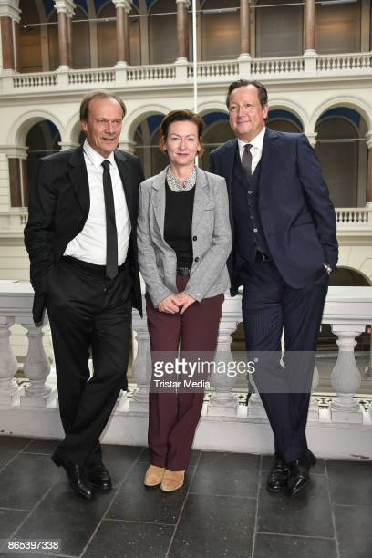 Edgar Selge Martina Zoellner and Matthias Brandt during the photo call to Michel Houellebecqs novel 'Unterwerfung' on October 23 2017 in Berlin...