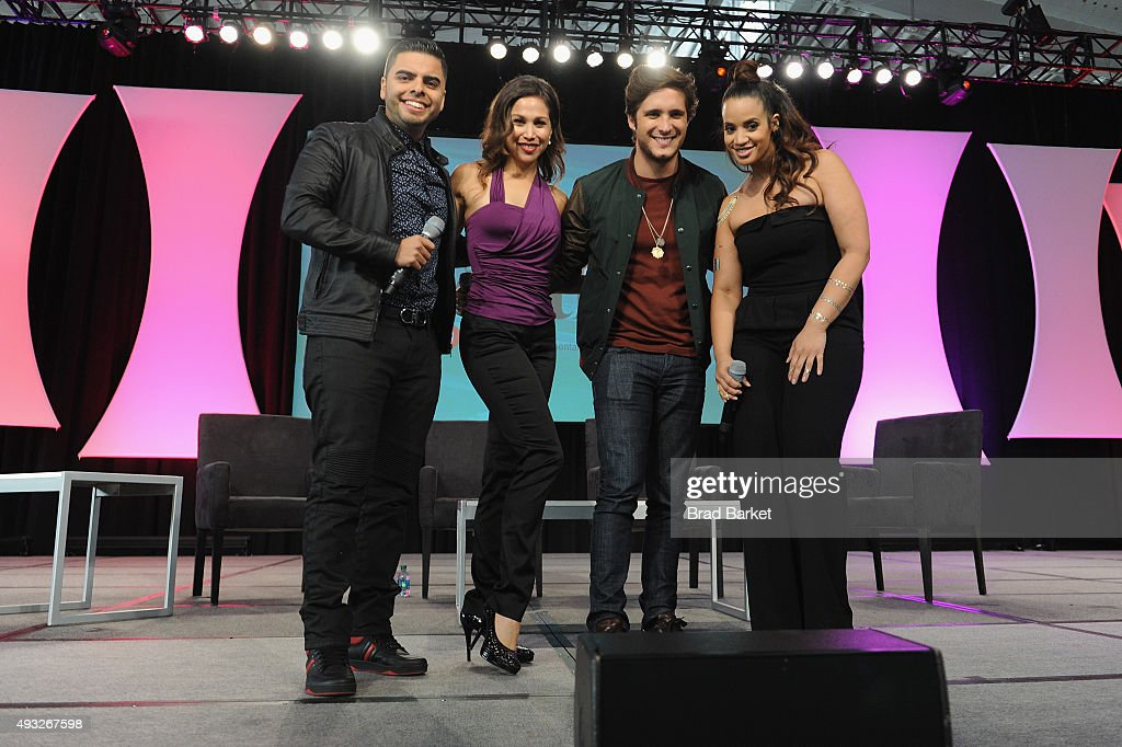 Edgar Shoboy Sotelo, Actress Bianca Marroquin, Diego Boneta, and Dascha Polanco speak onstage during Festival PEOPLE En Espanol 2015 presented by Verizon at Jacob Javitz Center on October 18, 2015 in New York City.