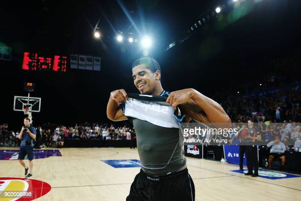 Edgar Sosa of the Breakers celebrates after hitting a long range shot to end the game during the round 13 NBL match between the New Zealand Breakers...
