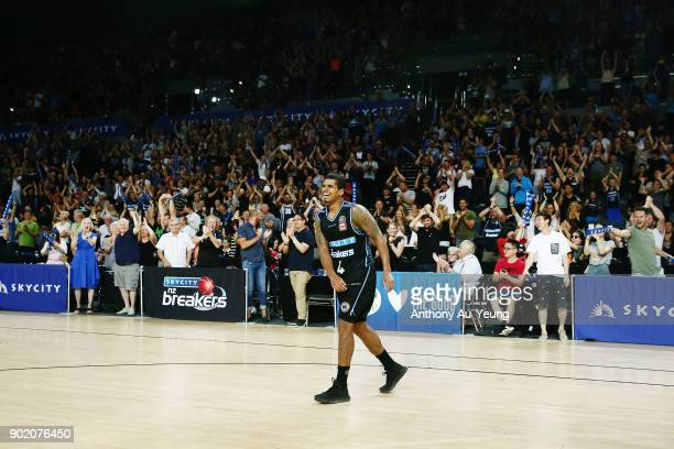 Edgar Sosa of the Breakers celebrates with the crowd after hitting a long range shot to end the game during the round 13 NBL match between the New...