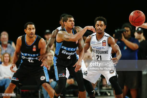 Edgar Sosa of the Breakers competes against Casper Ware of United during game two of the NBL semi final series between Melbourne United and the New...