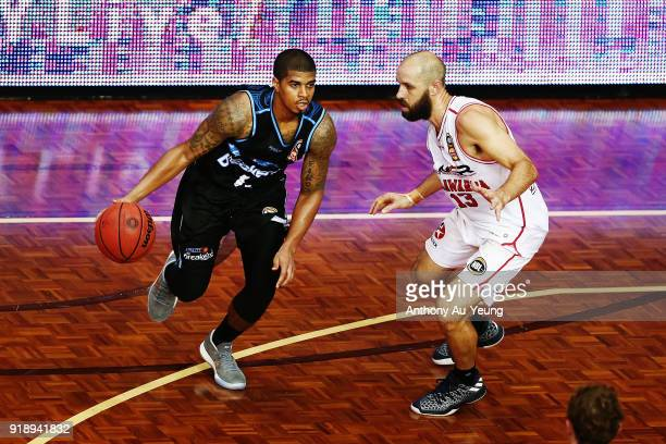 Edgar Sosa of the Breakers competes against Rhys Martin of the Hawks during the round 19 NBL match between the New Zealand Breakers and the Illawarra...