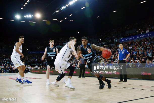 Edgar Sosa of the Breakers drives against Shaun Bruce of the Bullets during the round seven NBL match between New Zealand and Brisbane at Spark Arena...