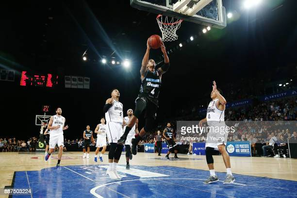 Edgar Sosa of the Breakers goes to the basket during the round nine NBL match between the New Zealand Breakers and the Brisbane Bullets at Spark...