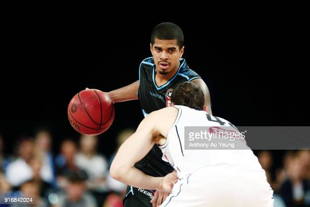 Edgar Sosa of the Breakers in action against Chris Goulding of United during the round 18 NBL match between the New Zealand Breakers and Melbourne...