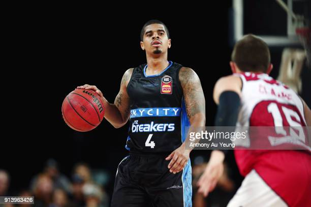 Edgar Sosa of the Breakers in action during the round 17 NBL match between the New Zealand Breakers and the Illawarra Hawks at Spark Arena on...