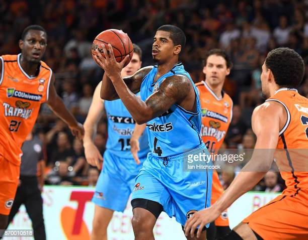 Edgar Sosa of the Breakers passes the ball during the round five NBL match between the Cairns Taipans and the New Zealand Breakers at Cairns...