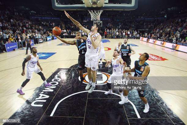 Edgar Sosa of the Breakers puts up a shot against Todd Blanchfield of the Kings during the round three NBL match between the New Zealand Breakers and...